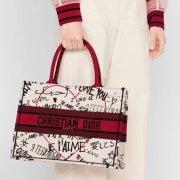 New Dior AAA+ Handbag Dior Chinese Valentine's Book Tote canvas tote embroidered Graffiti tote bag #99116984