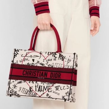 New Dior AAA+ Handbag Dior Chinese Valentine's Book Tote canvas tote embroidered Graffiti tote bag #99116984