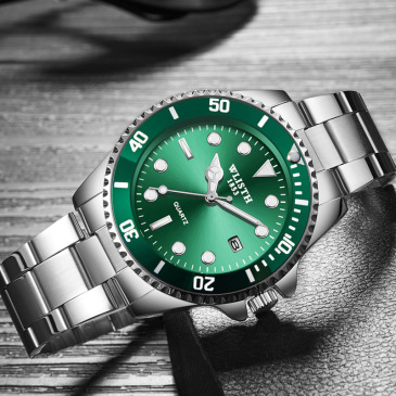 Green Black Water Ghost Waterproof Calendar Men's Watch Strong Luminous Steel Band Quartz Watch #99116350