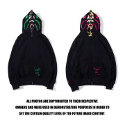 Bape Pink green tooth print double hoodie #99117334