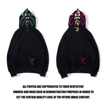 Bape Pink green tooth print double hoodie #99117334