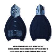 Bape Tang suit wash denim cardigan button-down hoodie jacket #99117335