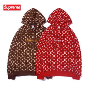 Supreme LV Hoodies for Men Women in Red coffee #99117748