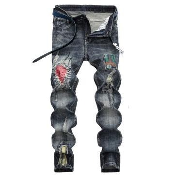 Nostalgic ripped appliqué locomotive men's jeans #99905865