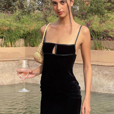 British Style Black Spaghetti Strap Sleeveless Mini Dress