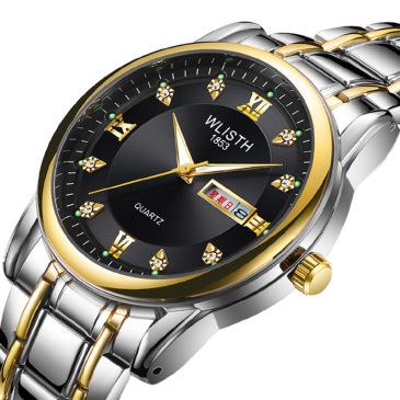 Men's watch waterproof steel band double calendar quartz watch wholesale #99116347