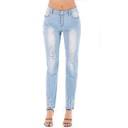 Foreign trade women's high elastic slim hole jeans Amazon Women's medium waist large denim black pants #99115717