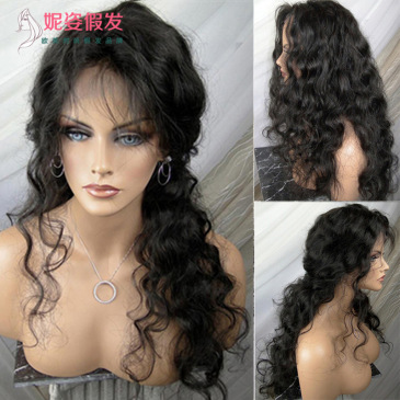 Wig female Europe and America long curly hair black small volume front lace wig hand woven hood factory spot wholesale LS-207 #9116406