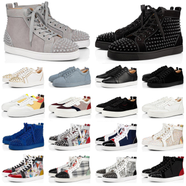 2020 Christian Louboutin red bottoms men women fashion luxury designer shoes spike high top sneakers black white bred grey leather suede flats casual shoe #9874153