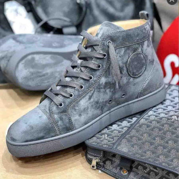 Christian Louboutin New Grey/Blue Suede Genuine Leather Sneakers Shoes High Top Famous Brands Red Bottom Sneaker Shoes Men Women Causal Party Dress Wedding #9874154