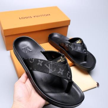 Men Louis Vuitton Slippers Casual Leather flip-flops Double leather high quality outsole wear resistant #9874786