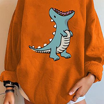 Casual Plush Dinosaur Loose Oversized Sweatshirt