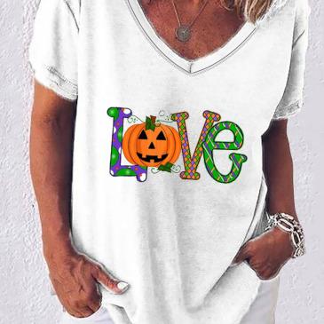 Love Letter Print V Neck Short Sleeve T-Shirt