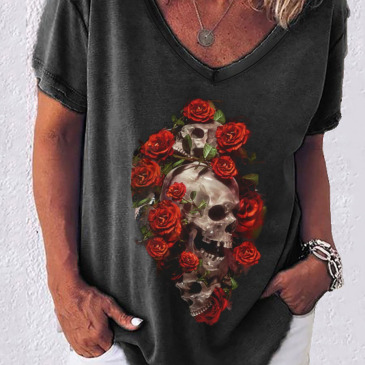Skull Printed Fashion Casual Short Sleeve T-Shirt
