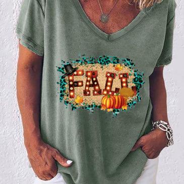 V Neck Casual Short Sleeve T-Shirt For Women