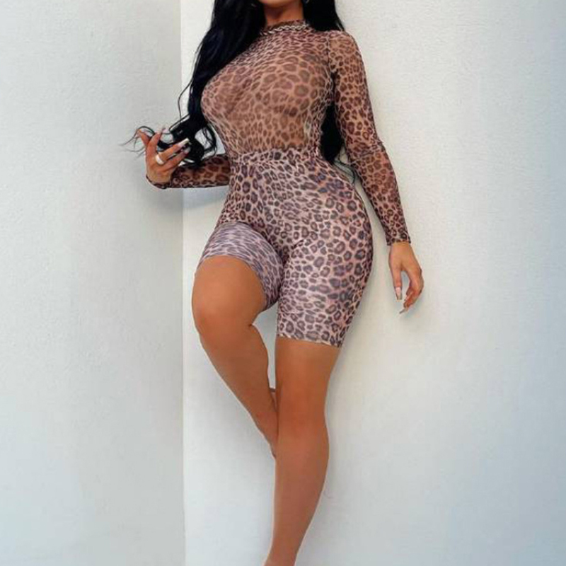 Skinny Leopard Long Sleeve Gym Suit For Women