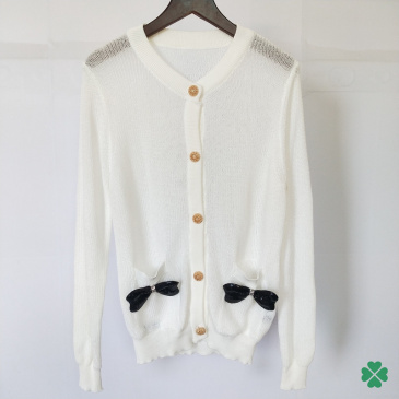 Women Bow cutout cardigans White/black/pink/beige #99902773