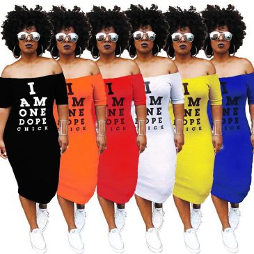 Amazon AliExpress new nightclub European and American style letters super long printed bag hip dress  #99904409