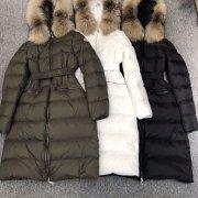 MONLER mid length down jacket for women Black/white/green #99898909
