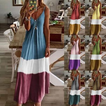 Gradient V-neck Sling Print Dress Bohemian Loose Long Skirt (7 Colors) S-5XL $9.9 #99904366