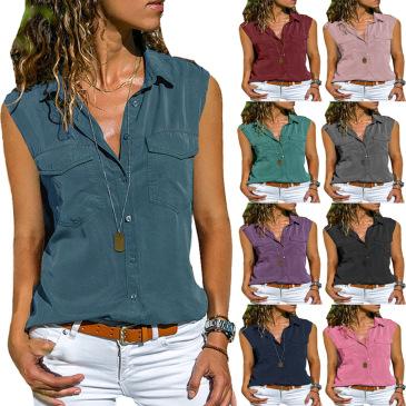 New Ladies Shirt Lapel Sleeveless Shirt Women (9 colors) S-8XL-$9.9 #99904351