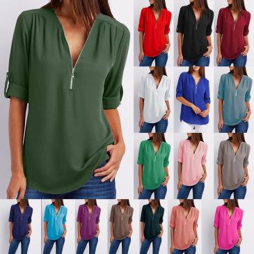 Solid color zipper half-open collar 2021 hot sale women's T-shirt (17 colors) S-5XL-$9.9 #99904348