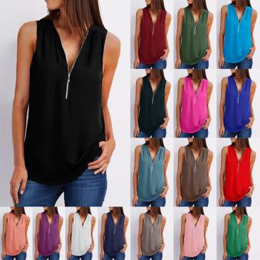 Solid color zipper half-open collar 2021 hot sale women's T-shirt Sleeveless (17 colors) S-5XL-$9.9 #99904357