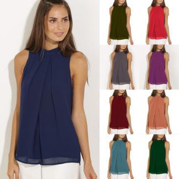 Summer style  chiffon shirt  sleeveless Fabric: Pearl chiffon double layer (8 Colors) S-3XL $9.9 #99904368