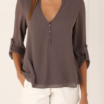 Temperament women's long-sleeved V-neck loose large size chiffon shirt (11 Colors) S-5XL $9.9 #99904367