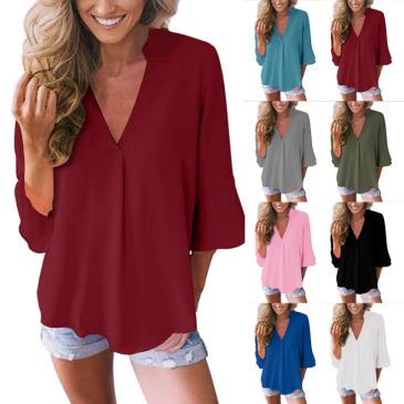 V-neck lotus leaf sleeve sleeve loose chiffon shirt shirt factory direct sales (9 colors) S-5XL-$9.9 #99904365
